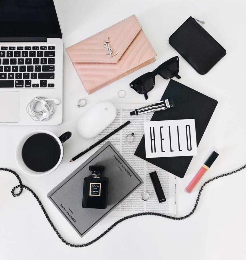 Coffee and Handbags flat lay table top by Becca Risa Luna @beccarisa