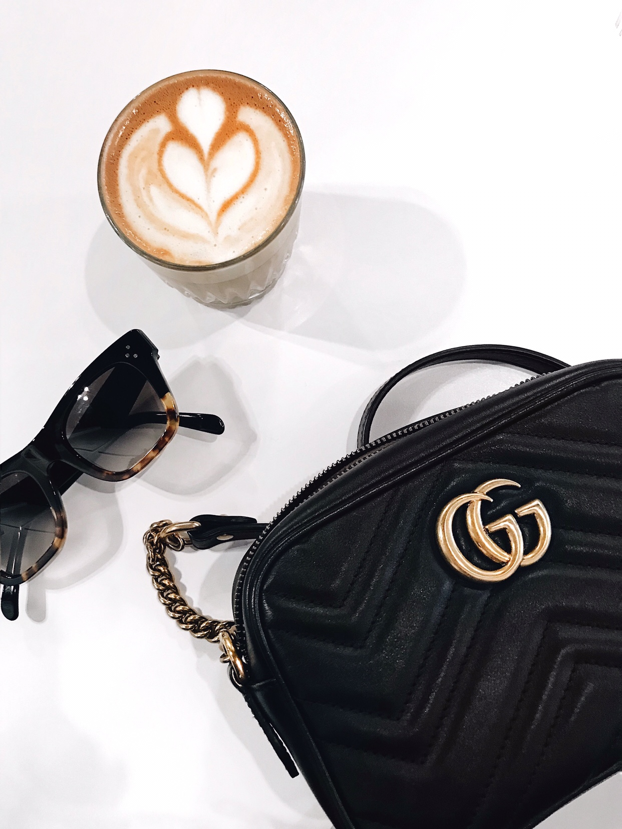 Gucci Marmont handbag and latte art | CoffeeAndHandbags.com