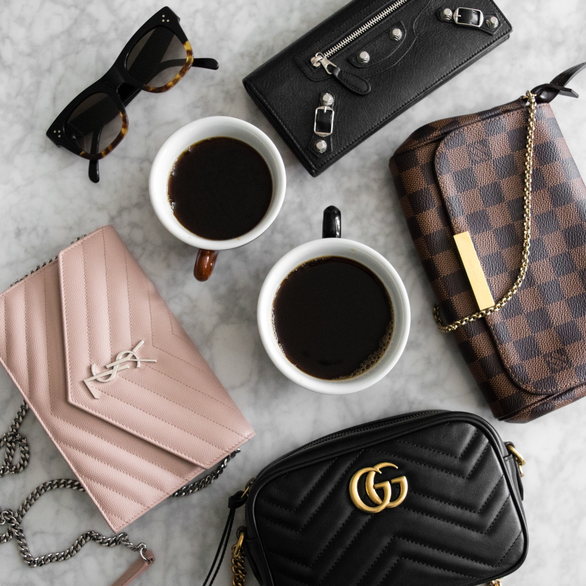 Gucci Marmont Mini Camera size comparison with LV Favorite PM and YSL WOC | CoffeeAndHandbags.com
