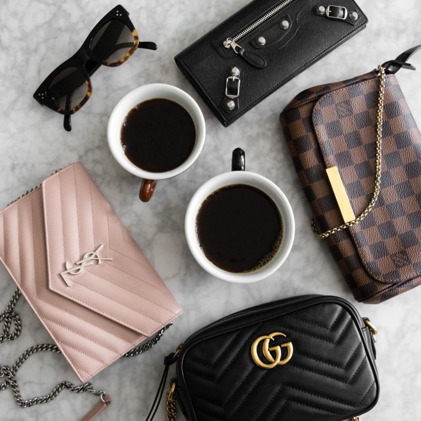 Gucci Marmont Mini Camera size comparison with LV Favorite PM and YSL WOC   CoffeeAndHandbags.com