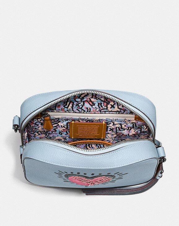 Coach X Keith Haring Sequin Heart Camera Crossbody Bag