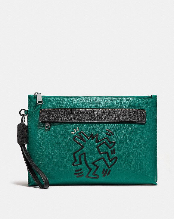 Coach x Keith Haring Emerald Green Leather Zip Pouch