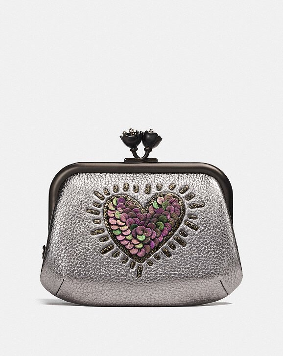Coach x Keith Haring Metallic Smoke Sequin Heart Frame Coin Purse