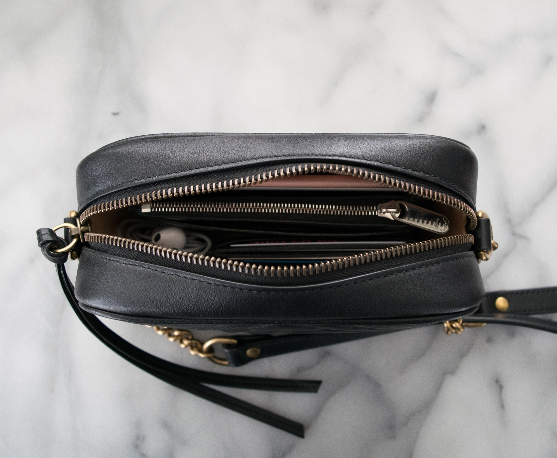 4b31e0b3b2d6 Size comparison: Gucci Marmont Mini Camera Bag versus Louis Vuitton  Favorite PM and YSL Chain Wallet