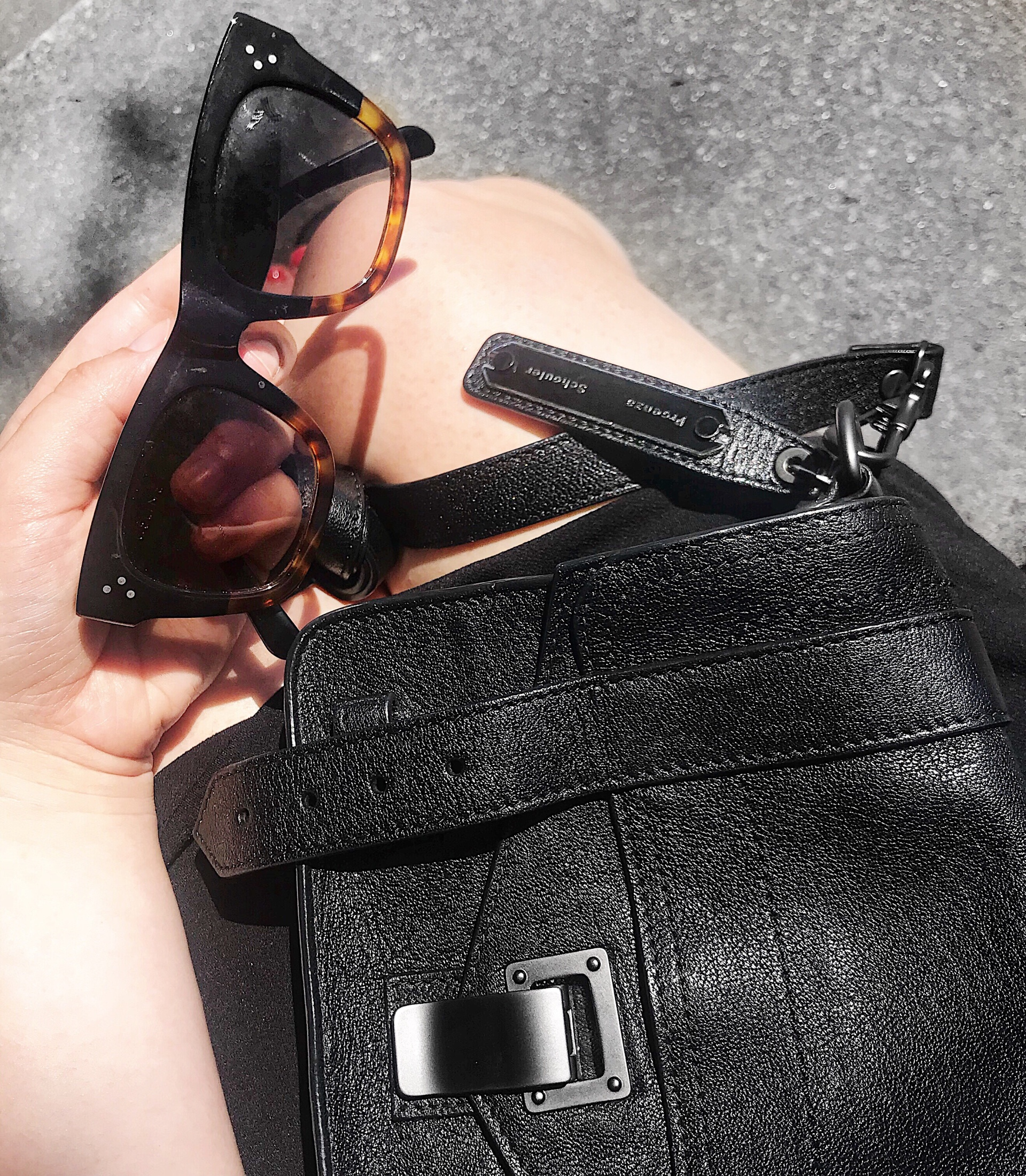 Proenza Schouler PS1 Tiny Bag and Céline Audrey sunglasses