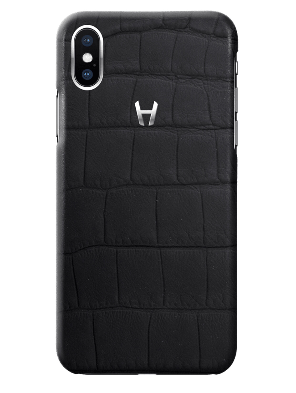 Hadoro Black carbon Alligator Case for iPhone X Stainless Steel