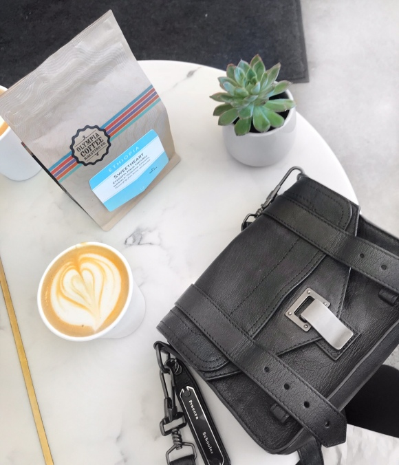Proenza Schouler PS1 Mini Crossbody & Latte at Olympia Coffee Roasters | CoffeeandHandbags.com