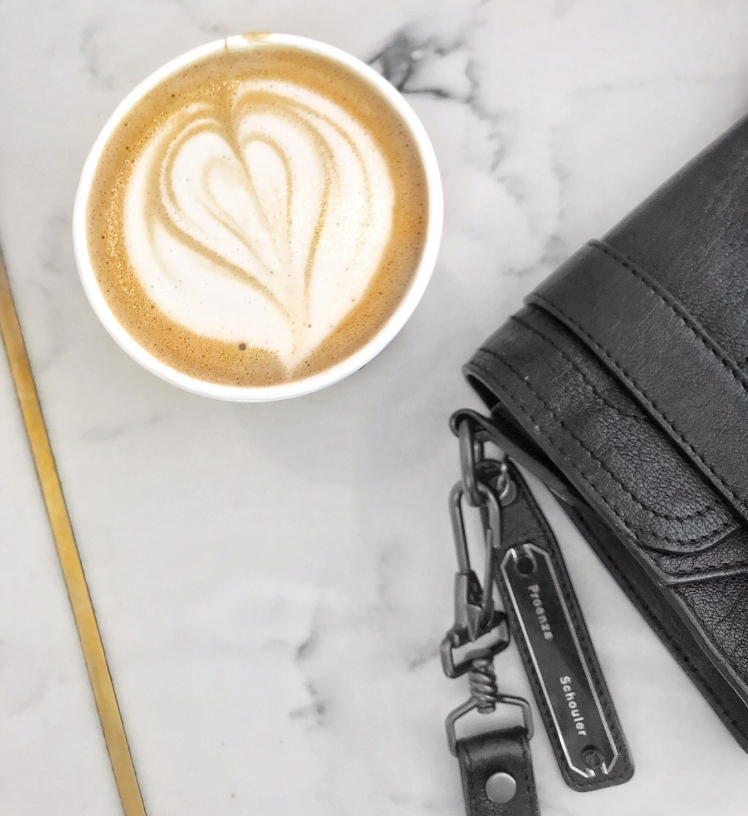 Proenza Schouler PS1 Mini Crossbody & Latte at Olympia Coffee Roasters | CoffeeandHandbags.com