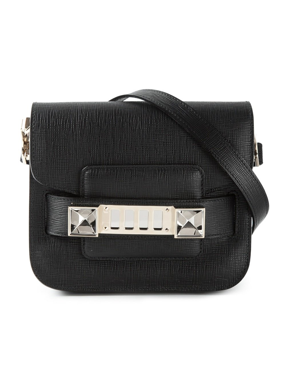 Proenza Schouler Black Leather PS11 Tiny Crossbody Bag