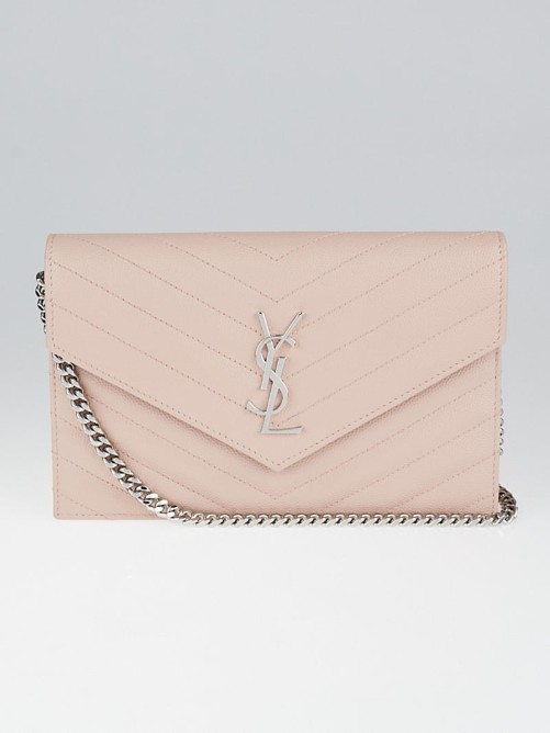 YSL Pale Pink Chevron Quilted Grained Leather Metalasse Wallet on Chain Bag