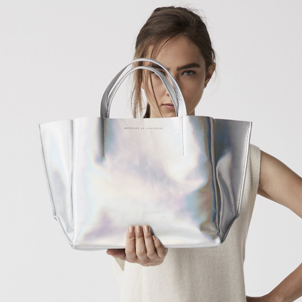 Ampersand As Apostrophe Silver Metallic Space Half Tote Bag