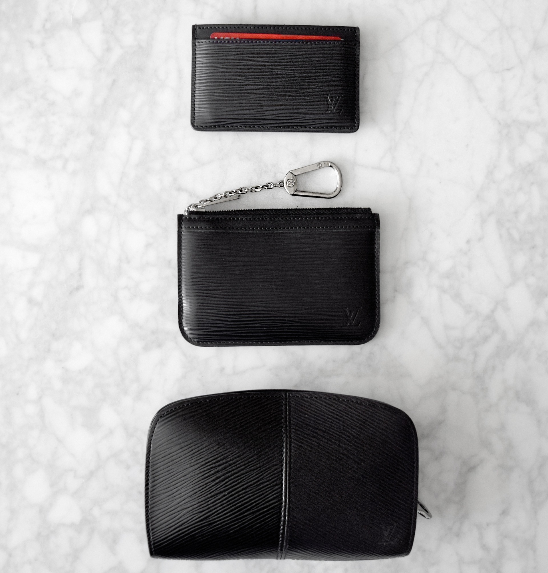 Louis Vuitton Epi Leather Collection | Simple Card Case / Pochette Cles Key Pouch / Demi-Lune Wallet | CoffeeAndHandbags.com
