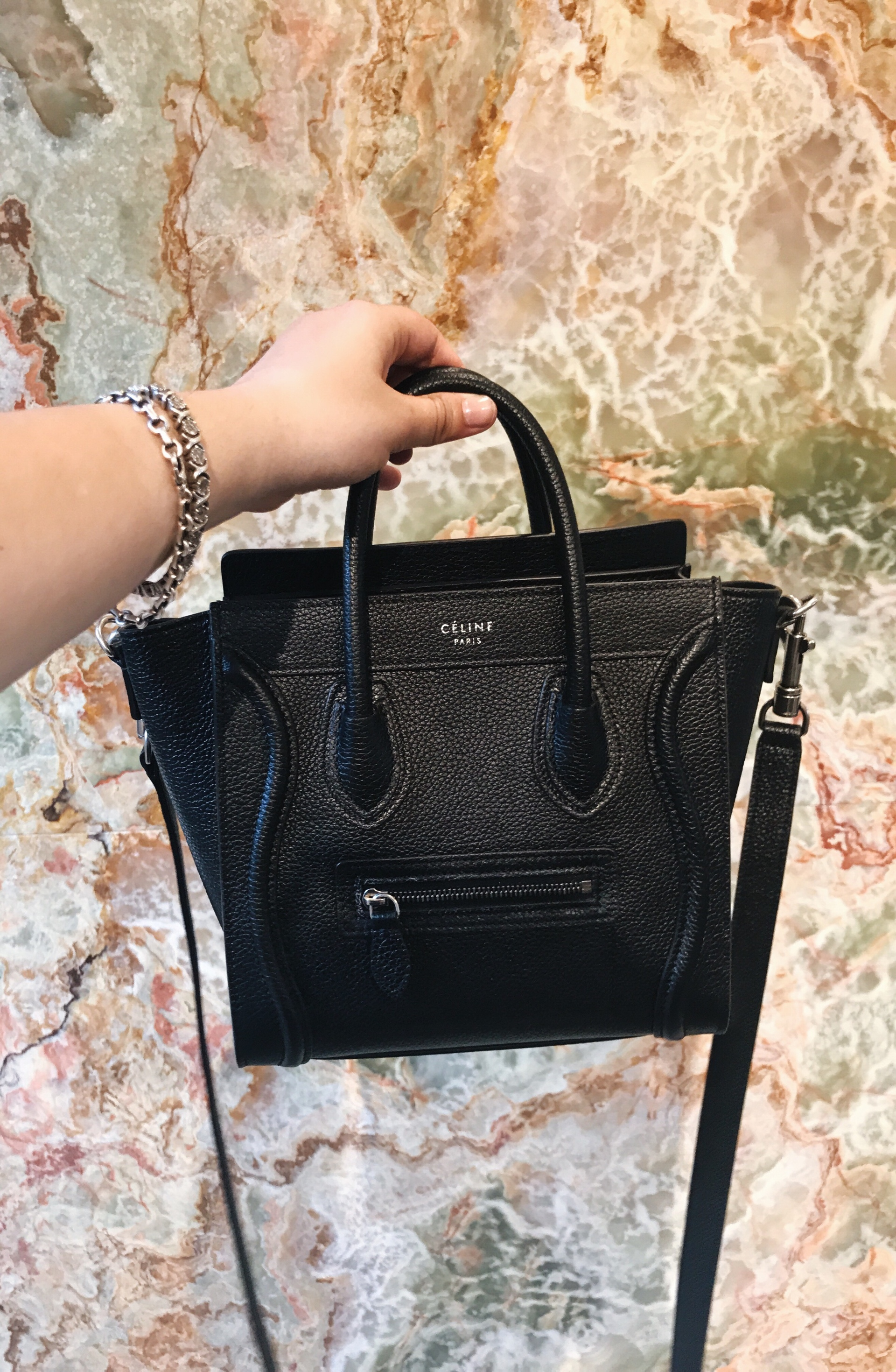 Celine Black Leather Nano Luggage Tote Bag | CoffeeAndHandbags.com