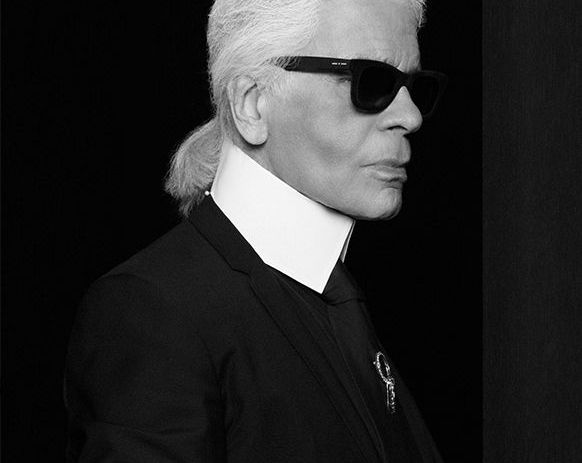 Black and White Portrait of Fashion Designer Karl Lagerfeld