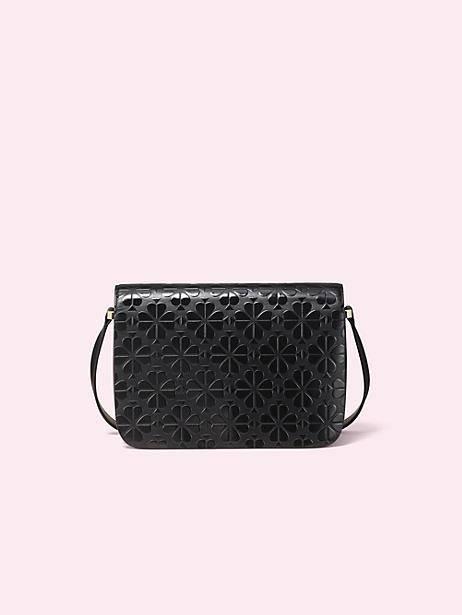 kate spade black nicola floral spade medium shoulder bag, $448