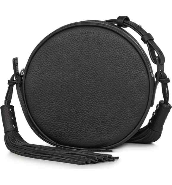 AllSaints Black Leather Kepi Circle Crossbody Bag