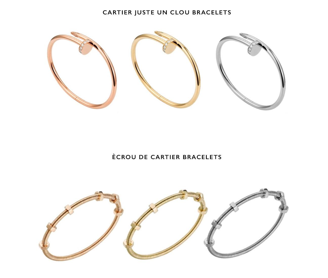 Cartier Juste Un Clou Nail Bracelets and Ecour Nuts and Bolts Bracelets