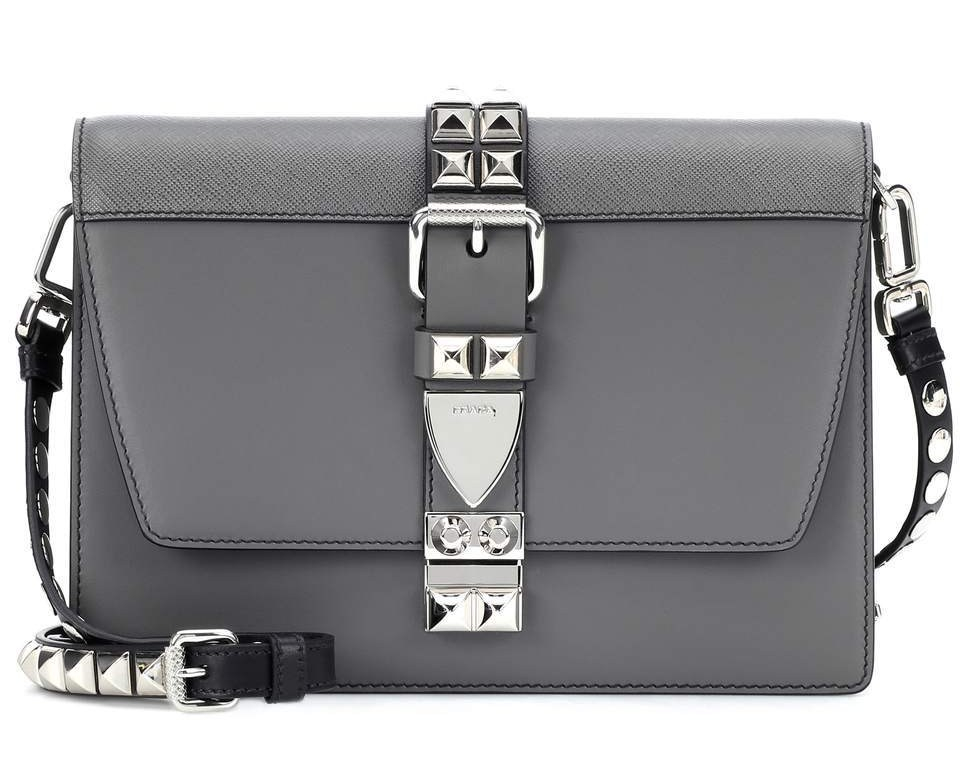 Prada Grey Elektra Studded Shoulder Bag
