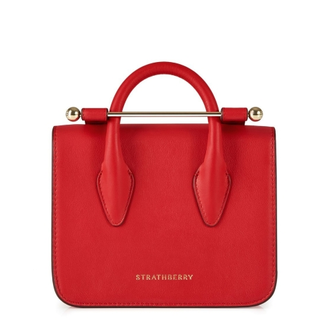 Strathberry MC Nano Tote Back Ruby Red