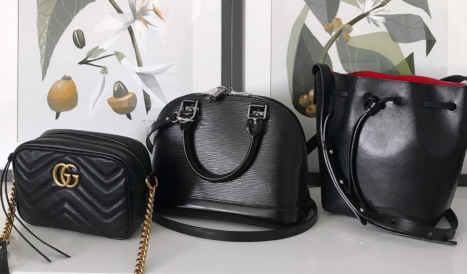 a4892095a Gucci Marmont, Louis Vuitton Epi Alma BB, Mansur Gavriel Mini Mini Bucket  Bag