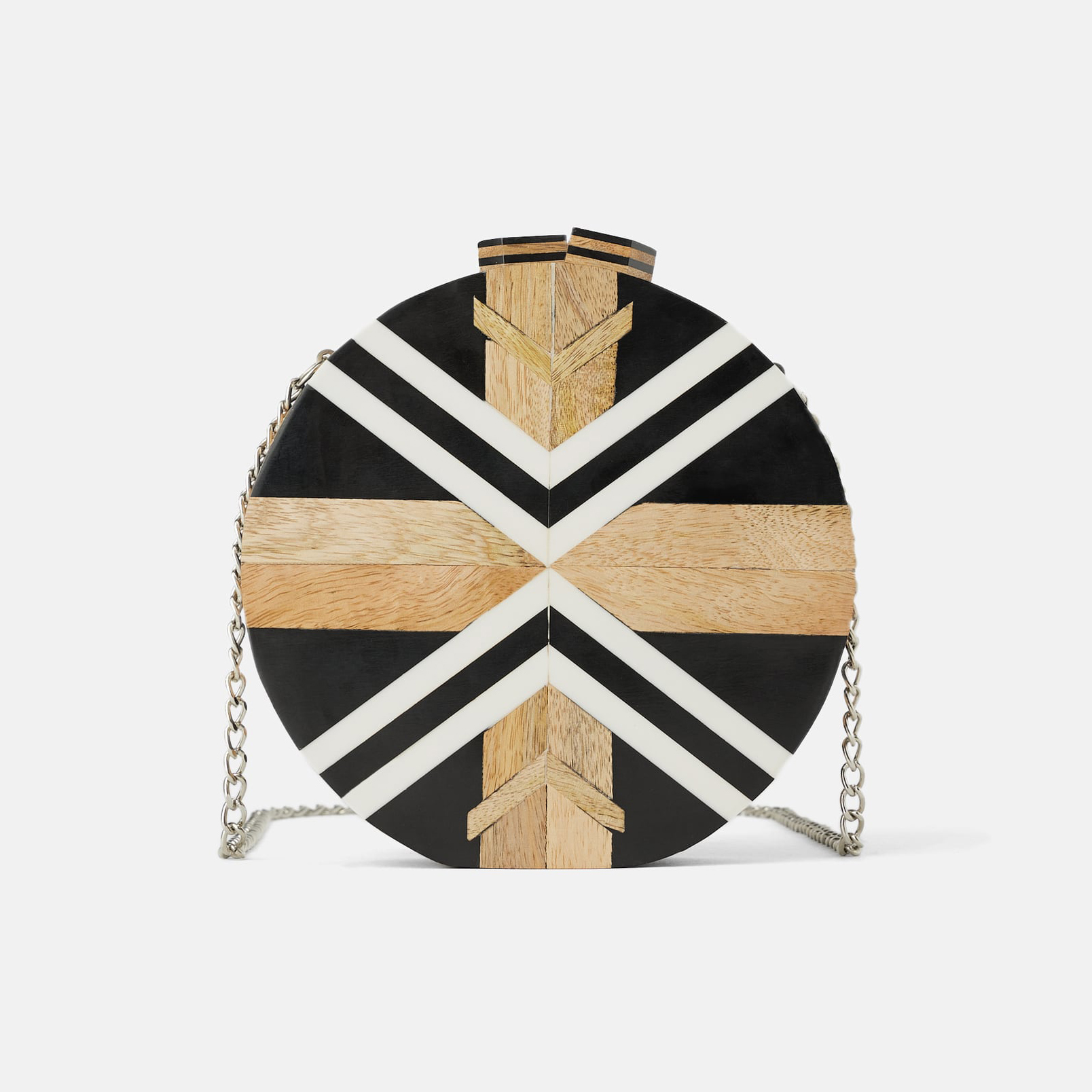 Zara Multicolor Wood Circle Crossbody Bag