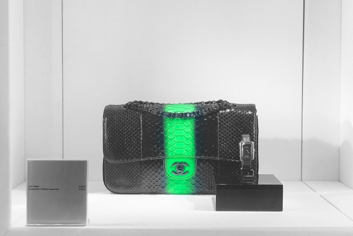 Chanel Black and Green Python Classic Flap Bag and Watch in Display Case