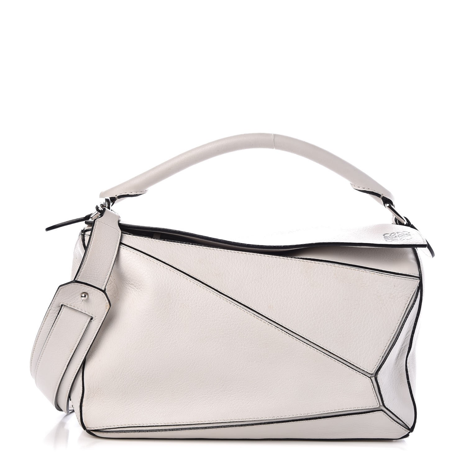 Loewe White Calfskin Leather Puzzle Bag