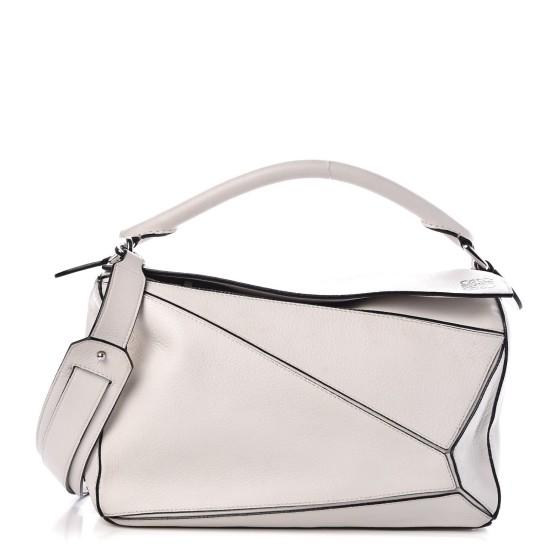 Loewe White Calfskin Leather Puzzle Bag