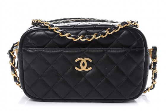 Chanel Quilted Lambskin Leather Timeless Camera Case Bag