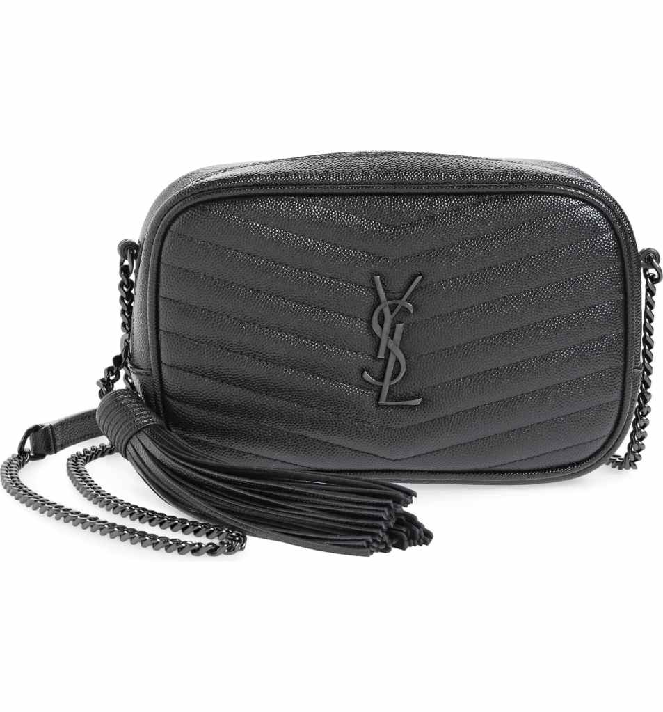 Saint Laurent Black on Black Mini Lou Quilted Leather Crossbody Bag